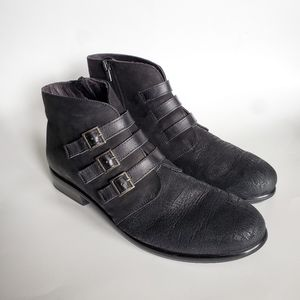 Naot Crackle Leather Zip Ankle Booties w/ Buckles
